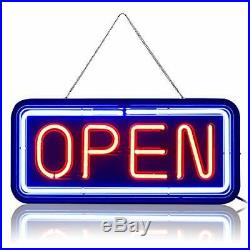 Real Glass Bright NeonNOT LED Open Sign 24x11 Shop Store Beer Café Bar Resta