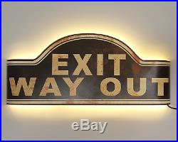 Rustic Metal Marquee EXIT WAY OUT Light Up Store Theater led Vintage Style Sign