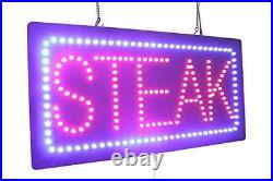 Steak Sign, Super Bright LED Open Sign, Store Sign, Business Sign, Windows Sign