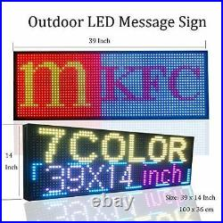 Store LED Signs 7 Color Programmable Scrolling Led Sign 39x14 High Brightne