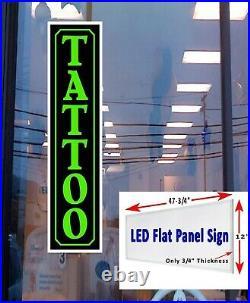 TATTOO Led illuminated Business Store window sign 48x12 LED flat panel vertical
