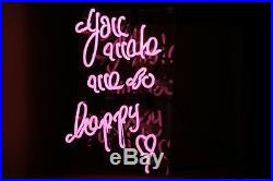 TN217P You Make me so happy Pink Text Decor Bed Store Neon Light Sign LED 15x13