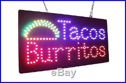 Tacos Burritos Neon Sign LED Open Sign Store Sign Business Sign Window Sign