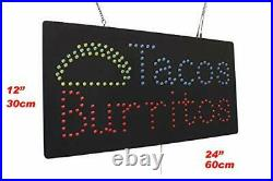 Tacos Burritos Sign TOPKING Signage LED Neon Open Store Window Shop Business