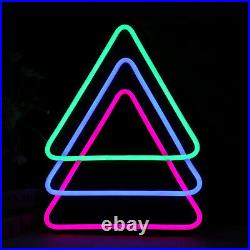 Triangle LED Neon Sign Light Hanging Party Store Visual Artwork Lamp Wall
