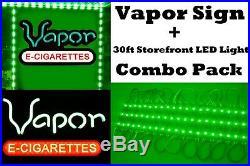 Vapor Store Window Sign LED Light + 30ft Green Storefront LED Light Smoke Shop