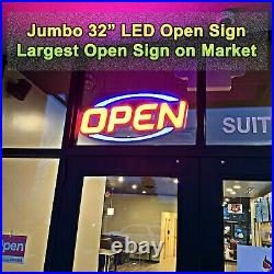 Very Large LED Open Sign for Restaurant Bar Shop Store Business Bright with Remote