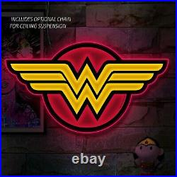 WONDER WOMAN DC LOGO LIGHT Large LED 25 Store Display Comic Sign by BRANDLITE