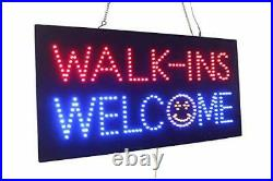 Walk-ins Welcome Sign, Signage, LED Neon Open, Store, Window, Shop