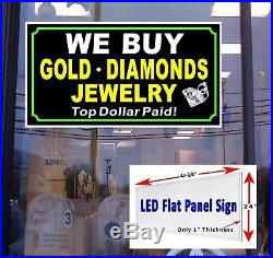 We Buy Gold Diamonds Jewelry LED Window Sign 48x24 retail store sign