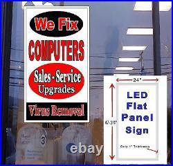 We Fix COMPUTERS Sales Service Upgrades 48x24 Led illuminated store window sign