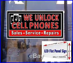 We Unlock Cell Phones Led Window Sign 24x48 retail store sign