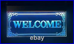 Welcome LED Open Signs Neon Light Shop Display Large Store Windows Sign Decor