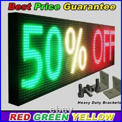 WiFi TRI-COLOR PROGRAMMABLE LED SIGN 19 X 76 SHOP STORE SCROLL TEXT DISPLAY