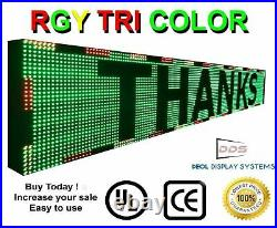 WiFi TRI-COLOR PROGRAMMABLE LED SIGN 25 X 76 SHOP STORE SCROLL TEXT DISPLAY